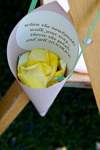 #DIY #wedding ceremony send-off petal cones via http://su.pr/2eivOj. Remember: Toss petals as we walk down the aisle together.