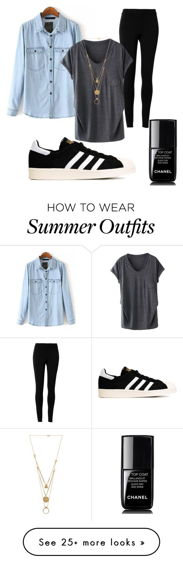 """College Outfit"" by verenastroppa on Polyvore featuring moda, Chanel, Max Studio, adidas Originals y Maison Margiela"