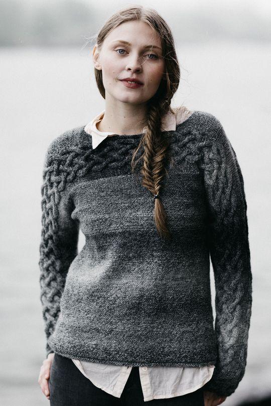 Women's sweater with cables made with Novita Nordic Wool Flow #knitting #knitwear #knit #sweater https://www.novitaknits.com/en