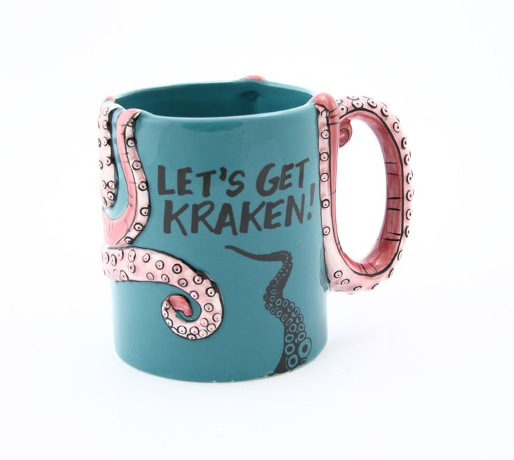 Octopus mug, personalized mug, let's get kraken, octopus art, tentacle, hp lovecraft, funny gift for him, cephalopod by LennyMud on Etsy