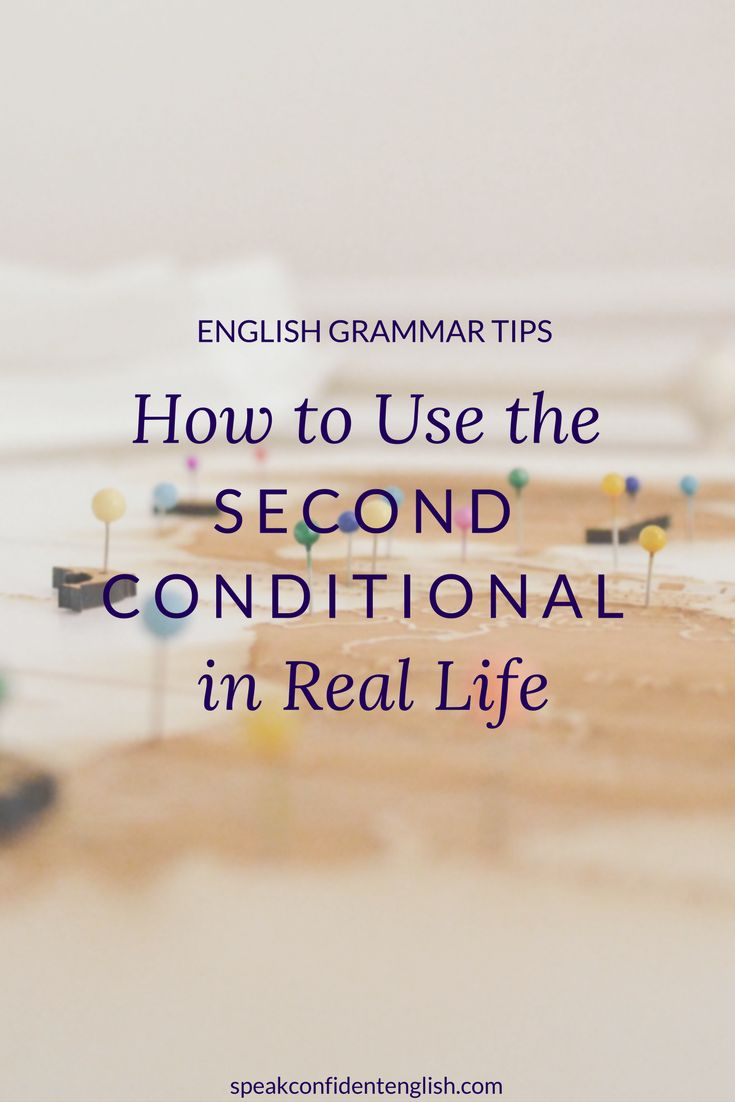 English grammar. Don't just learn the grammar rules! Learn how we use the second conditional in real life. For example: If I had a month of vacation time & more money, I'd relax in somewhere warm with a perfect beach. http://www.speakconfidentenglish.com/conditionals-part-2/?utm_campaign=coschedule&utm_source=pinterest&utm_medium=Speak%20Confident%20English%20%7C%20English%20Fluency%20Trainer&utm_content=How%20to%20Use%20the%20Second%20Conditional%20in%20Real%20Life