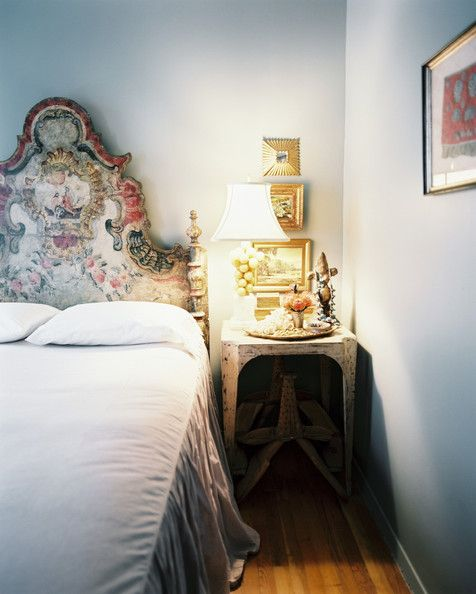Bohemian Bedroom Photo - A hand-painted Italian headboard in a gray bedroom