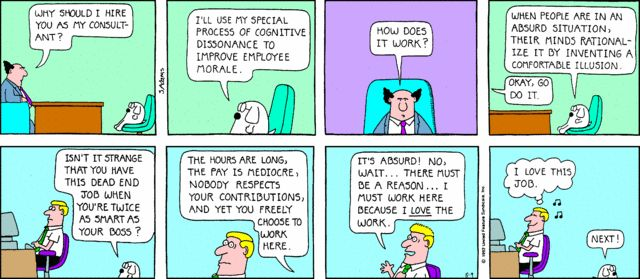Dilbert Comic About Cognitive Dissonance Humor