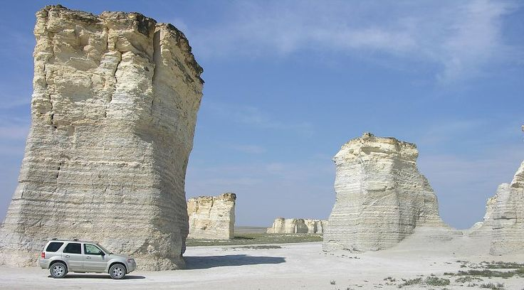 Monument Rocks (also called Chalk Pyramids) - near Oakley, Kansas, off of US-83;  70 feet tall chalk rock formations