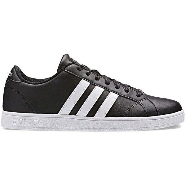 Adidas NEO Baseline Women's Leather Sneakers (81 NZD) ❤ liked on Polyvore featuring shoes, sneakers, black, black leather shoes, leather upper shoes, adidas trainers, black sneakers and black shoes