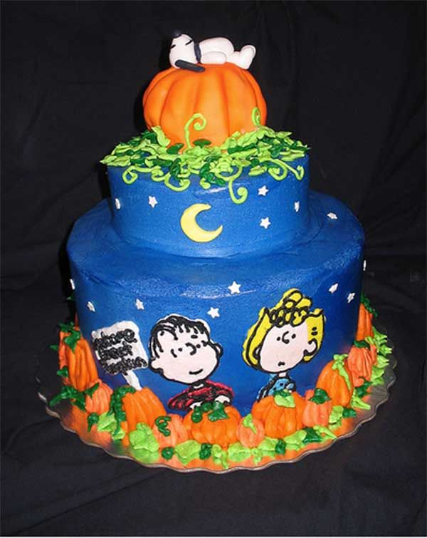 It's the Great Pumpkin! Charlie Brown Cake: Peanut, Pumpkin Cakes, Food, Pumpkins, Cake Ideas, Snoopy, Halloween Cakes, Birthday Cake, Great Pumpkin Charlie Brown
