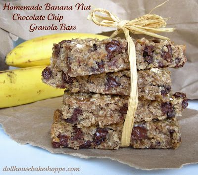 Chewy Banana Nut Chocolate Chip Granola Bars (egg free, dairy free ...