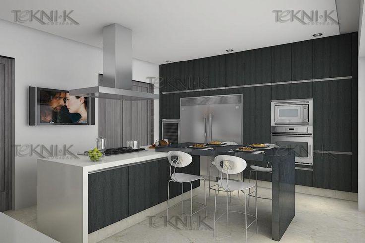 La cocina presenta una combinaci n sobria entre colores y - Colores para una cocina ...