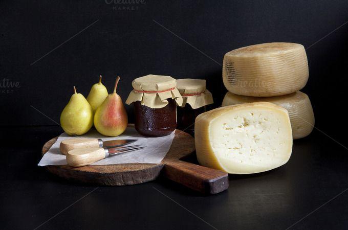 pecorino cheese, pears, jam. by IriGri on @creativemarket