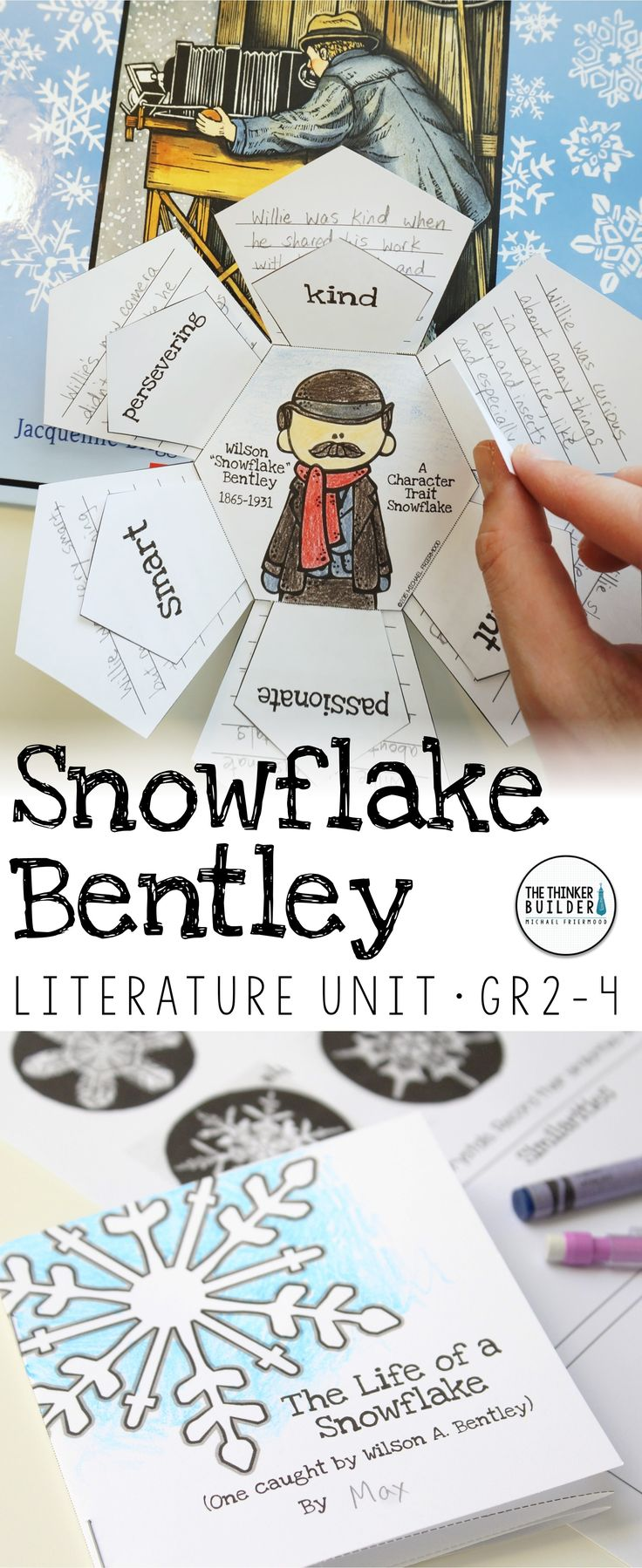 "An engaging literature unit for the picture book, Snowflake Bentley, by Jacqueline Briggs Martin, tons of story activities like a ""Character Trait Snowflake,"" vocabulary, background, and writing extensions. (Gr.2-4) $"