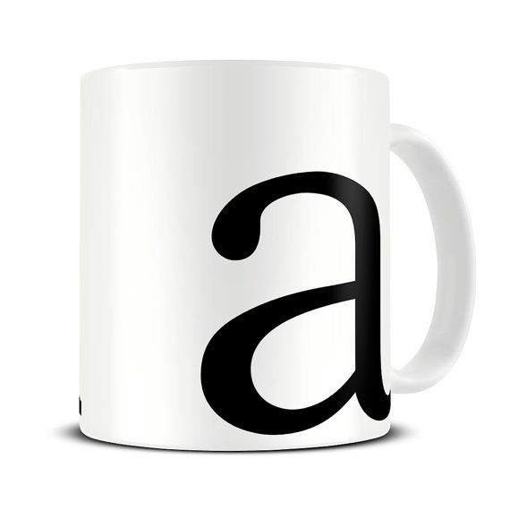 Personalized Typography Letter Coffee Mug by theMugHermit.  Mongrammed mug; designed with a lower case letter on the front and an upper-case letter on the reverse. (looking right handed).  Beautiful and glossy A+ quality 10oz ceramic mugs.  How to Personalise your mug:  Include your choice of letter in the Notes to Seller section during checkout.  Pin sharp vibrant print with a high gloss finish. Printed on both sides. Guaranteed dishwasher and microwave safe. Fade and scratch resistant…