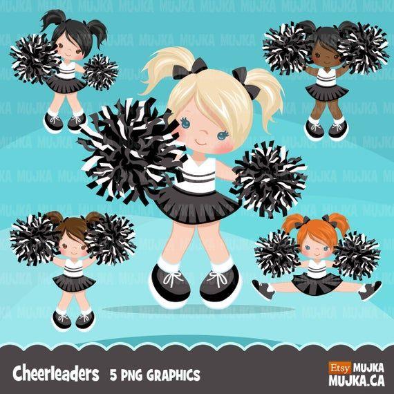 Cheerleader Clipart Sports Graphics School Pom Pom B W Etsy Em 2021 Bonecas Fofas Bonecas Personalizado