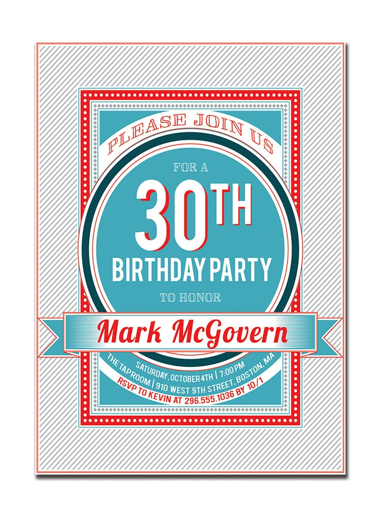 30th Birthday Party Invitation 21st 40th 50th 60th Modern Typography Poster Invitation Blue Red DIY Digital or Printed - Mark Style. $20.00, via Etsy.
