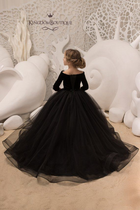 Black Velvet Flower Girl Dress - Birthday Wedding party Bridesmaid ... be89a8c54c8c