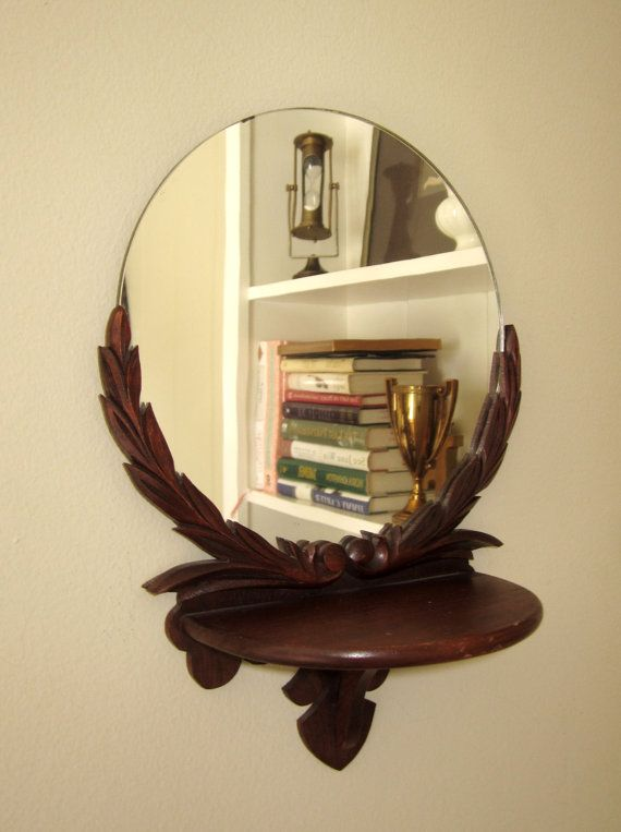 vintage wood scrolled shelf with round mirror made in. Black Bedroom Furniture Sets. Home Design Ideas