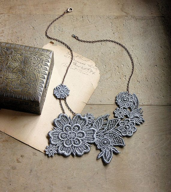 lace necklace - AINSLIE - steel gray - bridal necklace - floral necklace - bridesmaid- gift for her - boho - mothers day by White Owl