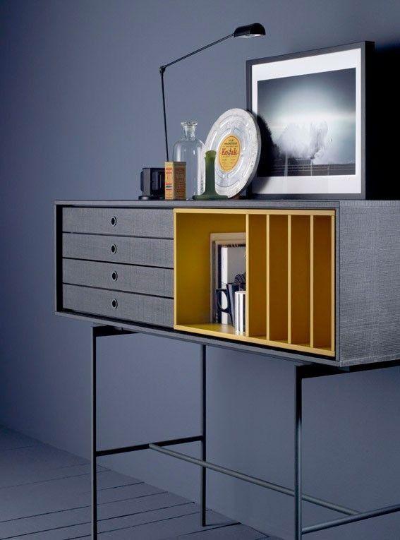 Contemporary media storage shelving unit grey