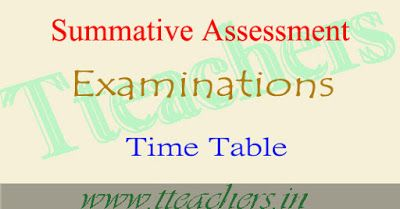TS SA1 Time Table 2016-17 Summative Assessment exam dates  : Board of School Education Department...