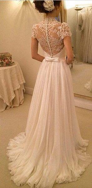 2016 A-line Wedding Dresses Chiffon Short Sleeves Sheer Lace Back Elegant Bridal Gowns