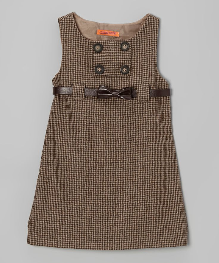 Brown Tweed Bow Belted Dress - Toddler & Girls | Daily deals for moms, babies and kids