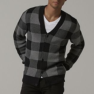Adam Levine Men's Cardigan Sweater - Buffalo Checked - Clothing - Men's - Sweaters