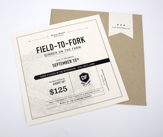 Fields To Forks, Urban Seeds, Graphicdesign, The Farms, Caroline Morris, Graphics Design, Graphics Projects, Brand, Invitations Design