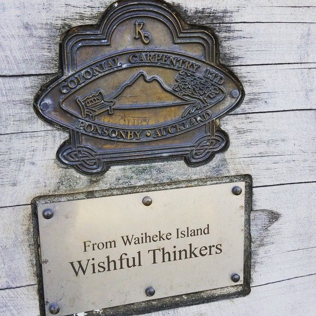 Plaque on wooden seat in Ostend Waiheke Island #wish #wishfulthinkers #waiheke  #waihekeisland #waiheke_island #waihekians #handmade #aplacetorest