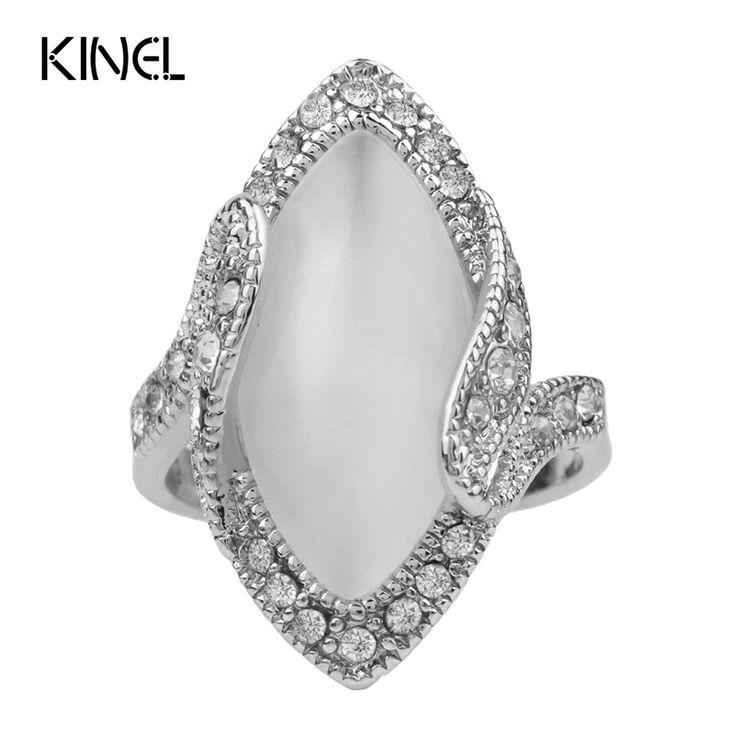 Hot Koop 2015 Luxe Mode Grote Ovale Opaal Ring Vintage Look Verzilverd Wit Crystal Ringen Voor Vrouwen Gift