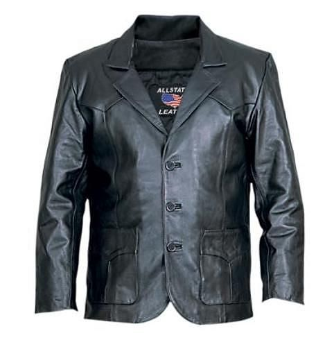 Price $150.00    Mens Three button Blazer (Lamb Skin)    http://www.srethng.com/al2650-allstate-leather-men-motorcycle-jacket.php  Alstate Leather AL 2650 Mens Three button Blazer (Lamb Skin). Western styled leather jacket. This is a quality lambskin leather jacket that will keep the wind off. Great leather jacket for formal gatherings.       Mens Motorcycle Jacket Features:   Lambskin Leather Motorcycle Jacket    Lambskin Leather    Three Button Front    Nylon Stitching    Western Cut…
