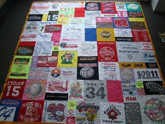 t-shirt quilt... The reason I want to learn how to sew... Baketball t shirts will be such a cute quilt!