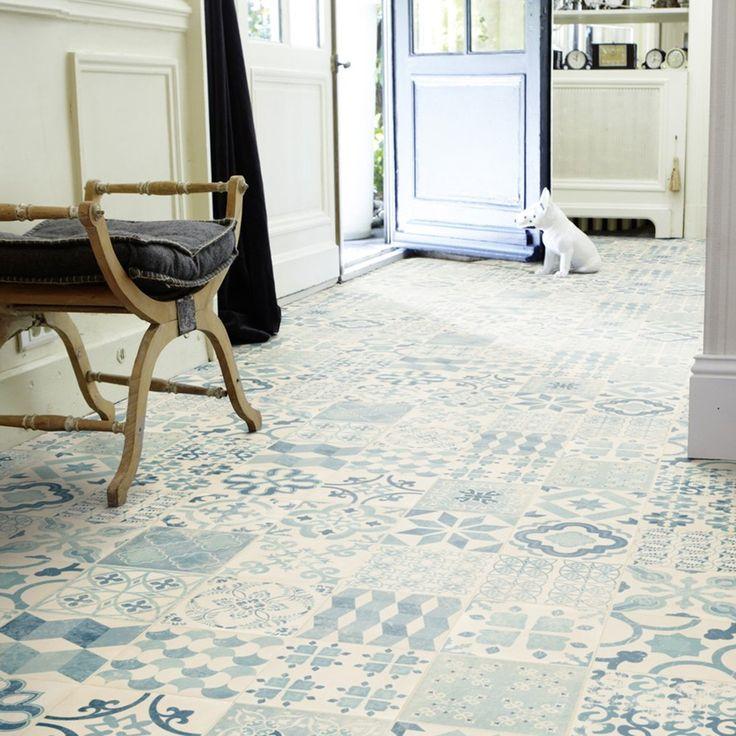 PVC Boden Tarkett Exclusive 240 Retro Almeria Blue 1m Bodenbeläge PVC Belag Fliesen - Dekor