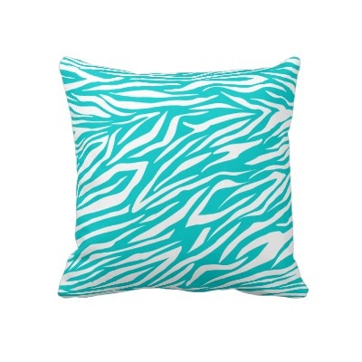 $60 Turquoise white zebra animal print throw pillow by zazzleproducts1