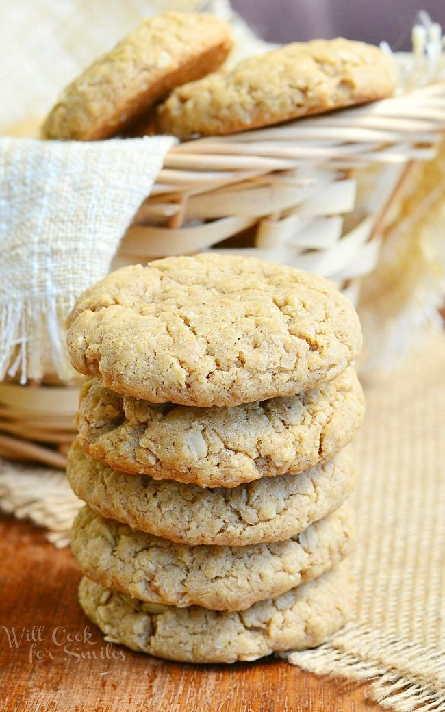 Soft Almond Butter Oatmeal Cookies. Delightful soft cookies fresh from the oven! Oatmeal Cookies made with almond butter and they are perfectly soft and chewy. | from willcookforsmiles.com