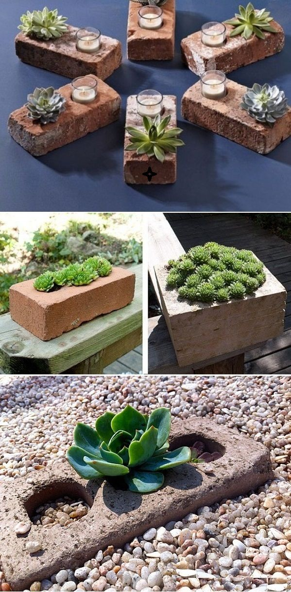 DIY Succulent Planters Of Used Bricks. SO cute and clever...line a walkway this way, too...(RM)