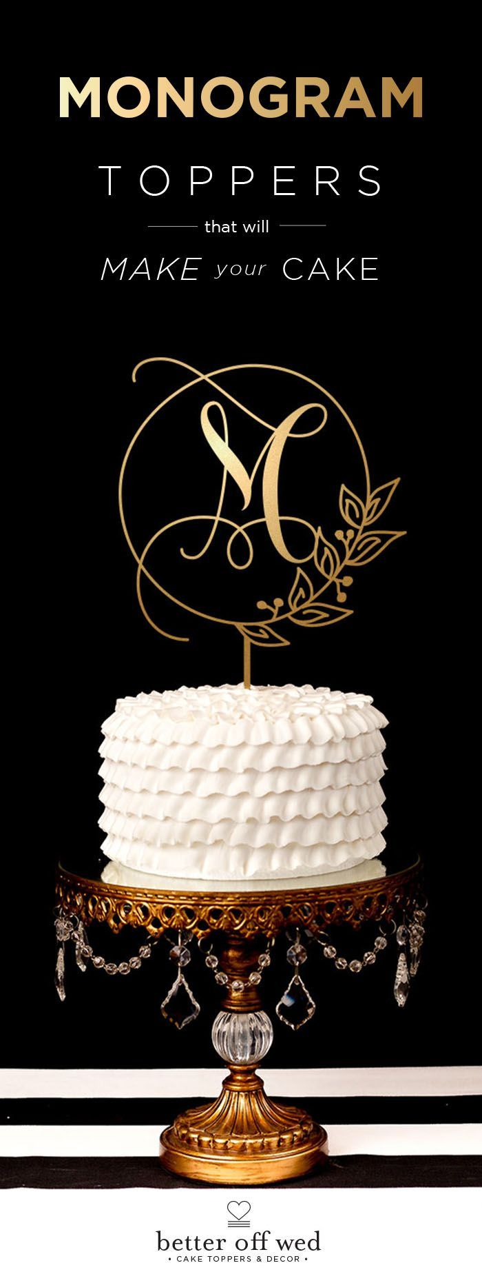 Loving this personalized monogram wedding cake topper. www.betteroffwed.co