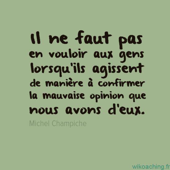 Il ne faut pas en vouloir aux gens lorsqu'ils agissent de manière à confirmer la mauvaise opinion que nous avons d'eux - Michel Champiche