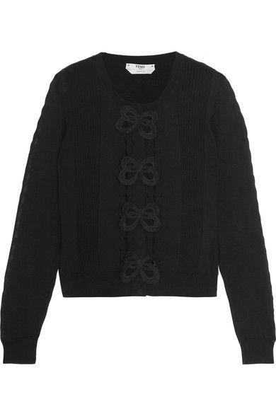 Fendi - Appliquéd Cotton Cardigan - Black - IT46