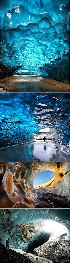 Ice cave in the Skaftafell National Park in Iceland. Ice caves collapse and new ones form as each glacier grinds slowly towards the sea. Local guides can help you (without dying) find one.