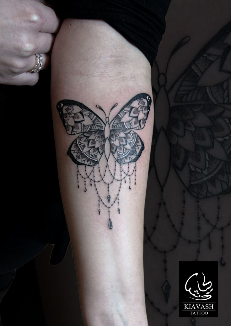 ornamental butterfly tattoo forearm girl | tattoos by ...