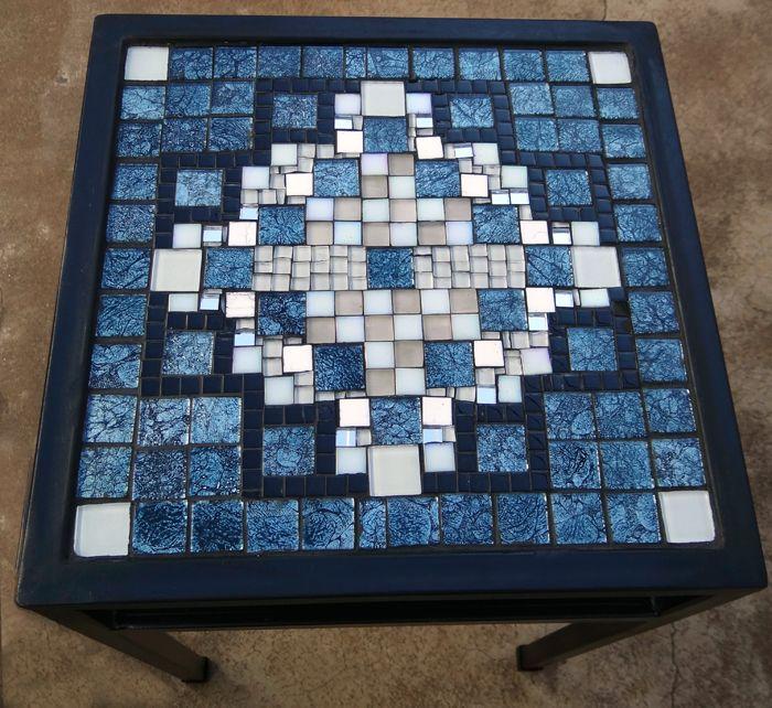 Glass Mosaic Pattern On Wrought Iron Table Mosaics