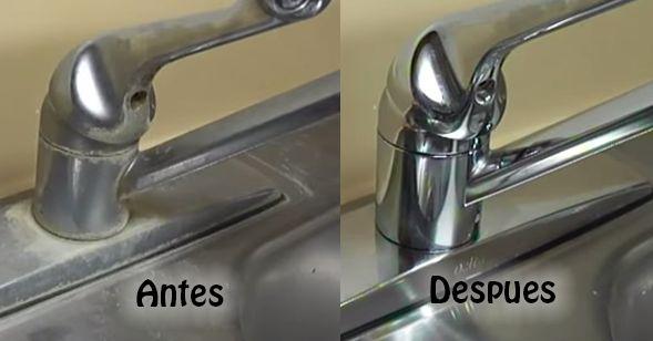 Como eliminar las manchas de los grifos y fregaderos