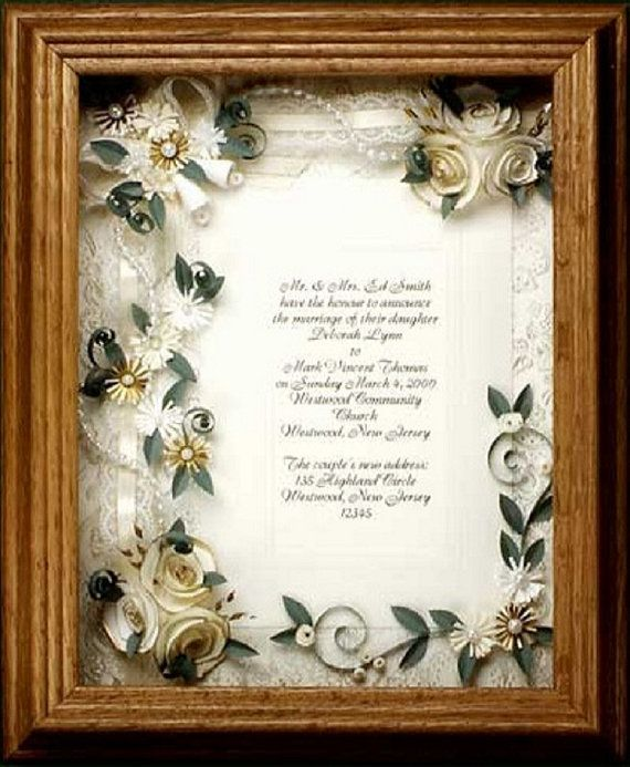 framed wedding invitation. wedding gift, framed ivory wedding invitation, bridal shower gift, wedding keepsake, wedding shadow box,