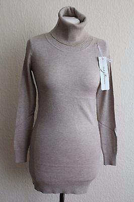 Long-Pullover-Rollkragen-Pulli-Rolli-Wolle-Kaschmir-Cashmere-braun-38-40-NEU