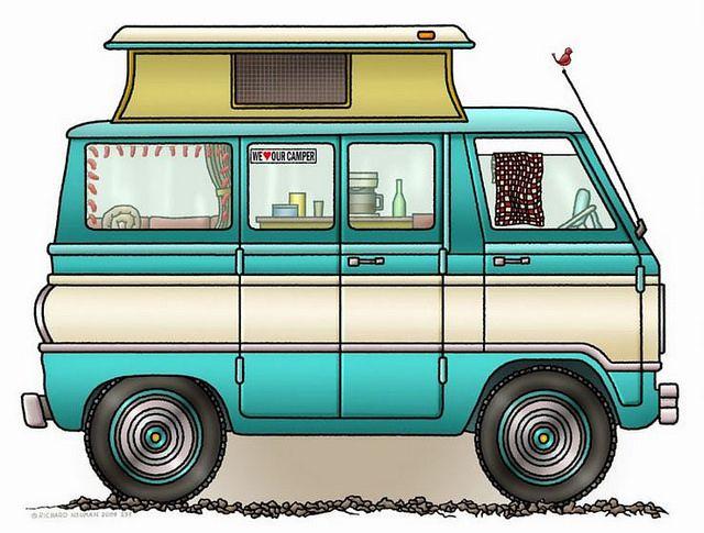 Whimsical Pop Top Camper Van (pinned by haw-creek.com)