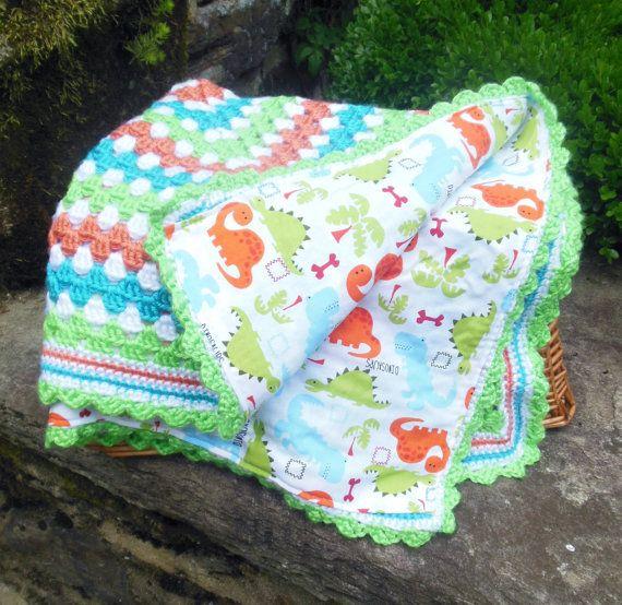 Crochet Baby Blanket Baby Dinosaur Reversible by BellaBeansCrochet, USD45.00 ...