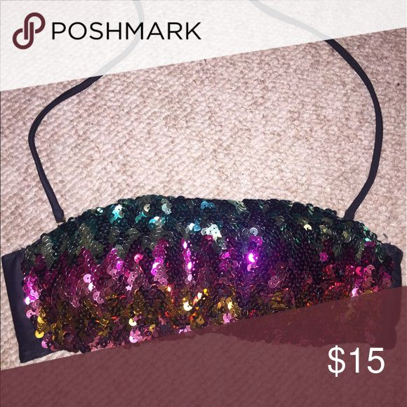 Sequin VS swim top Multi-colored VS sequin bandeau top! This fun top has removable straps and is perfect for the summer! Lightly worn and in great condition! PINK Victoria's Secret Swim Bikinis