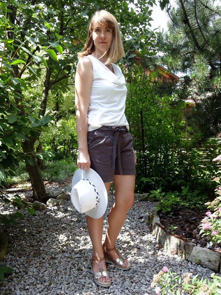 Krótkie spodenki w stylu safari, zgaszone lato; safari shorts, soft summer