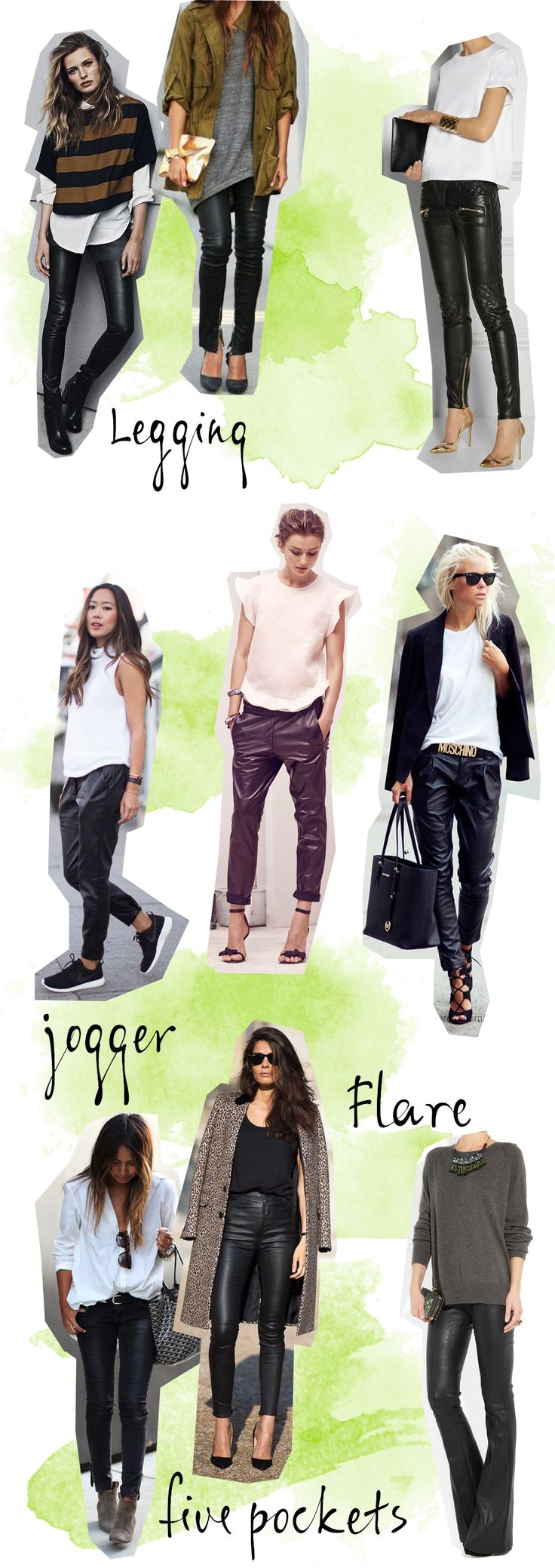 Como usar calça de couro. Os tipos de calça de couro. Legging de couro, jogger e flare. OOTD leather pants. #calçadecouro #blogdemoda #top100meuencanto #comousar