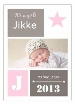 Geboortekaartje enkel Jikke - Fientje & Co
