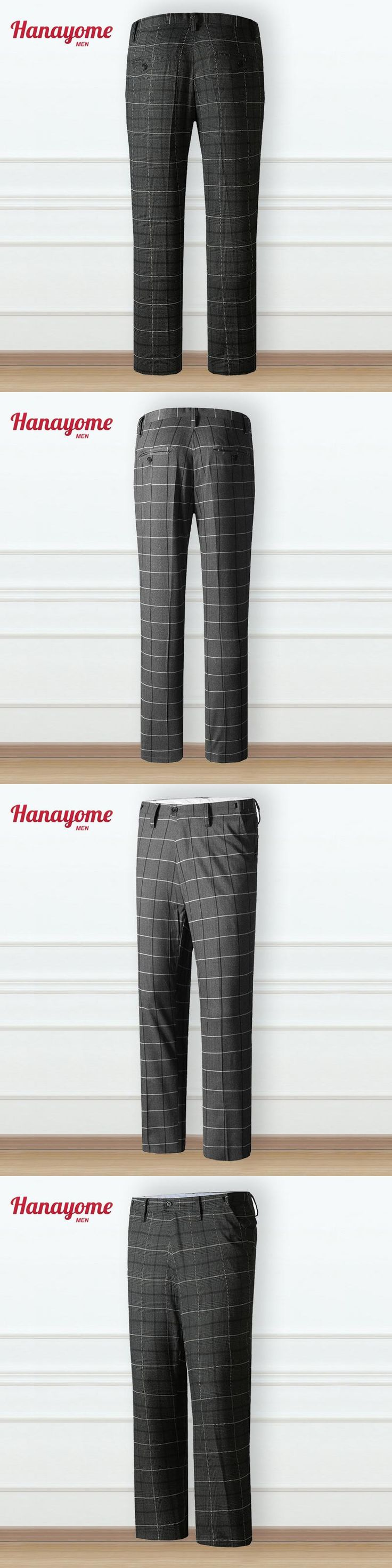Heather Grey Grid Pants For Male One Piece Long Pant 2017 Casual Clothes Mens Grey Color Suit Pants Slim Fit Tuxedo Custom SI80